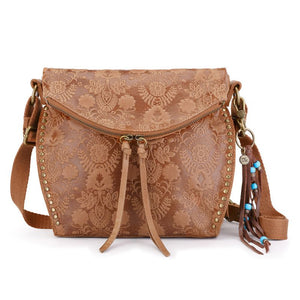 The Sak - Silverlake - Emboss Leather - Crossbody - Tobacco Floral Emboss