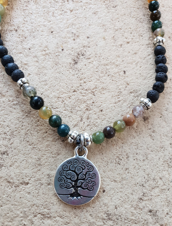 Indian Agate Crystal Gemstone & Lava Aroma Anklet - Tree of Life Charm