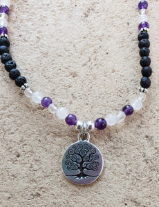 Amethyst, Rose & Clear Quartz Crystal Gemstone & Lava Aroma Anklet - Tree of Life Charm
