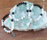 White Howlite Crystal Gemstone & Lava Diffuse Bracelet - Feather Charm