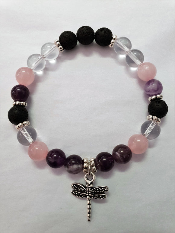 Healing Gemstone & Lava Diffuse Bracelet - Dragonfly Charm