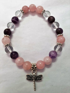 Rose Quartz - Amethyst - Clear Quartz - Gemstone Bracelet - Dragonfly Charm