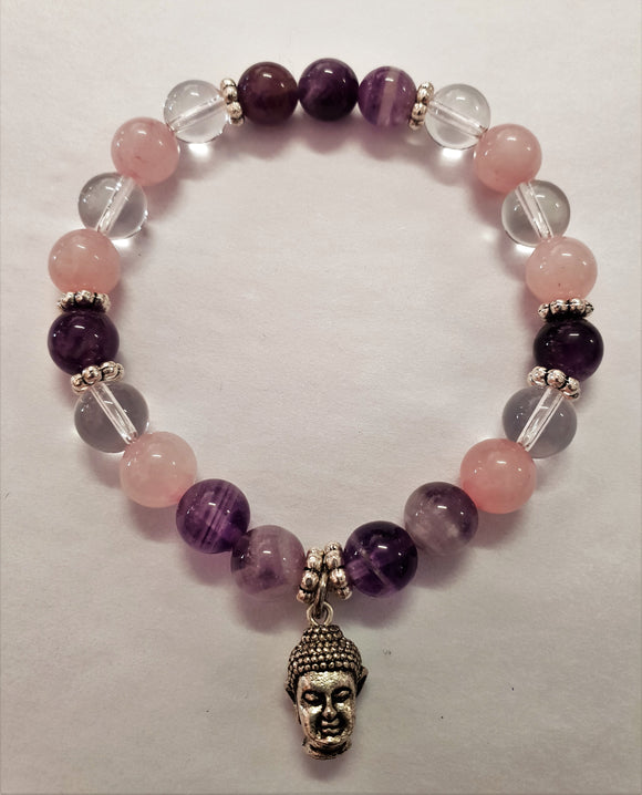 Rose Quartz - Amethyst - Clear Quartz - Gemstone Bracelet - Buddha Charm