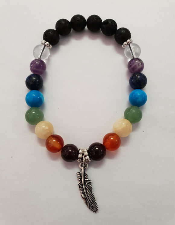 7 Chakra Crystal Gemstone & Lava Diffuse Bracelet - Feather Charm