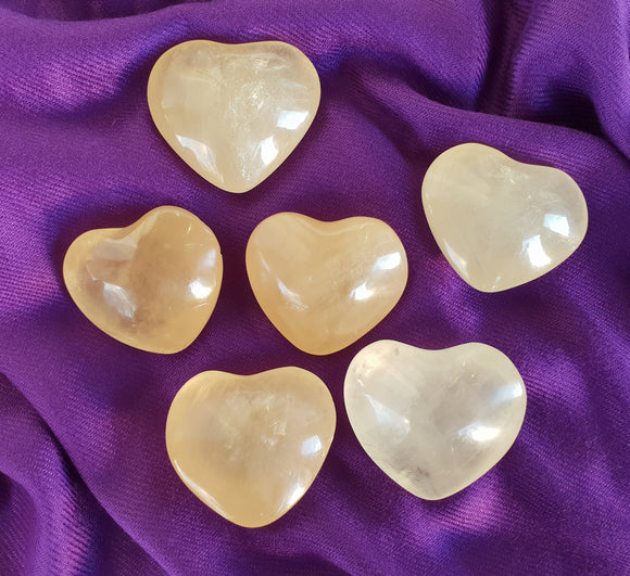 Honey Calcite Heart