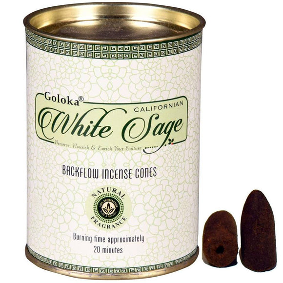 Goloka - White Sage - Backflow Incense Cones