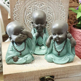 Set of 3 Wise Monk Ornament Speak / See / Hear No Evil 11cm