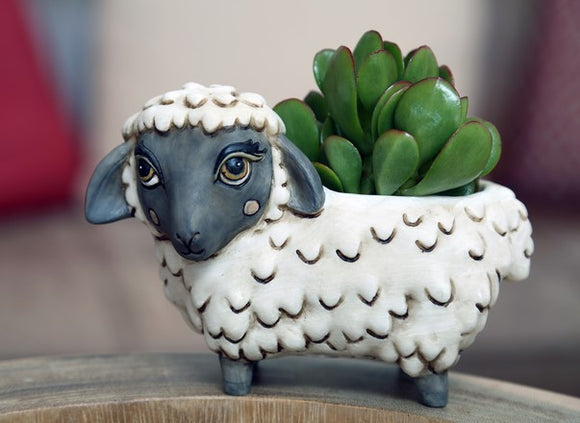 Baby Black Faces Sheep Planter