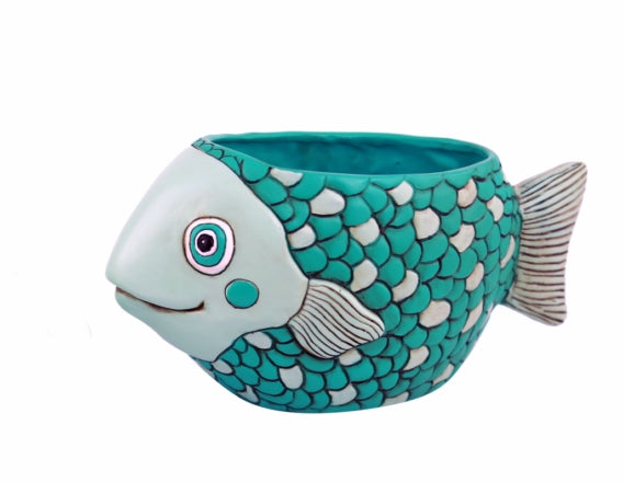 FISH teal planter