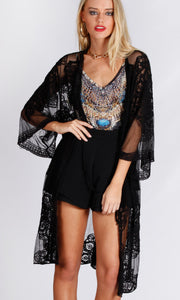 VINTAGE SHEER LACE THROW COVER- UP