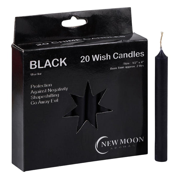 Wish Candle 1.25cm x 10cm (20 Pack) Black