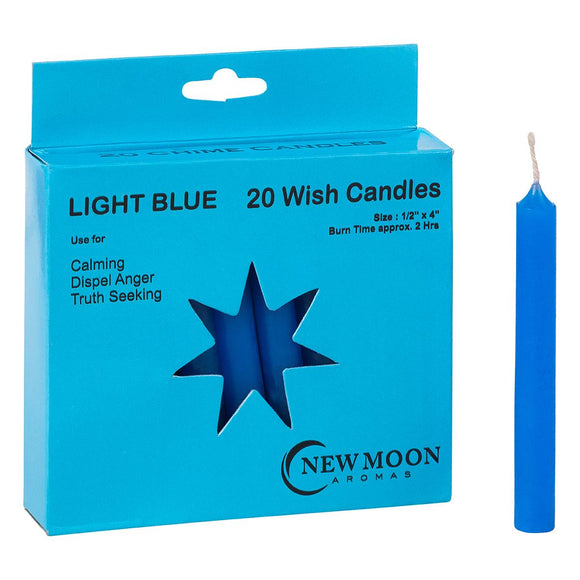 Wish Candle 1.25cm x 10cm (20 Pack) Light Blue