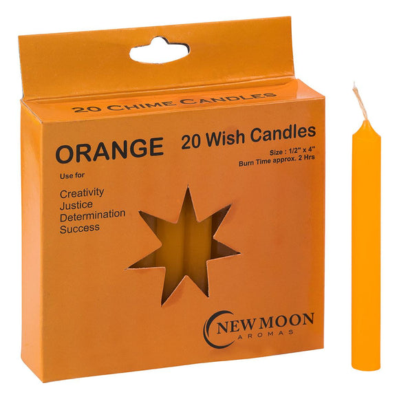 Wish Candle 1.25cm x 10cm (20 Pack) Orange