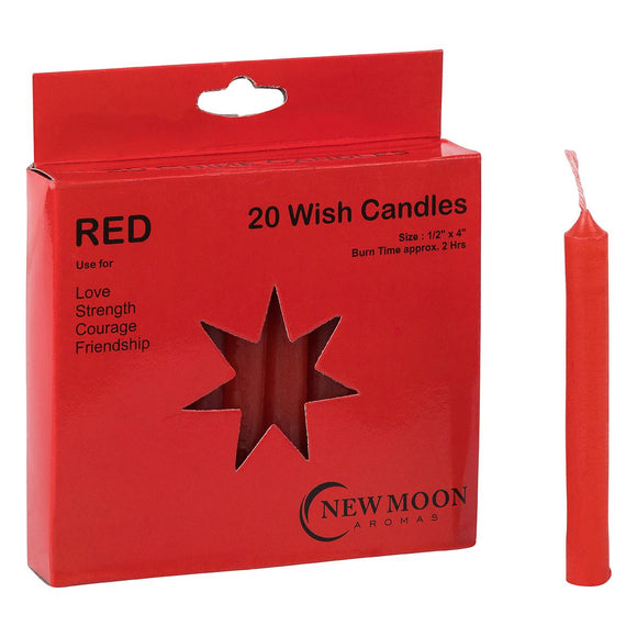 Wish Candle 1.25cm x 10cm (20 Pack) Red