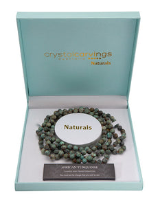 Natural Stone 8mm Bead Necklace - African Turquoise