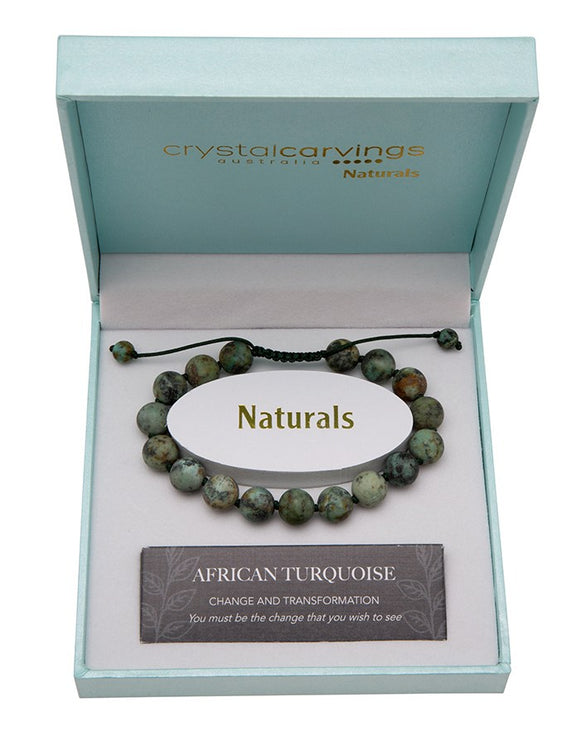 Natural Stone Bracelet - Adjustable - African Turquoise