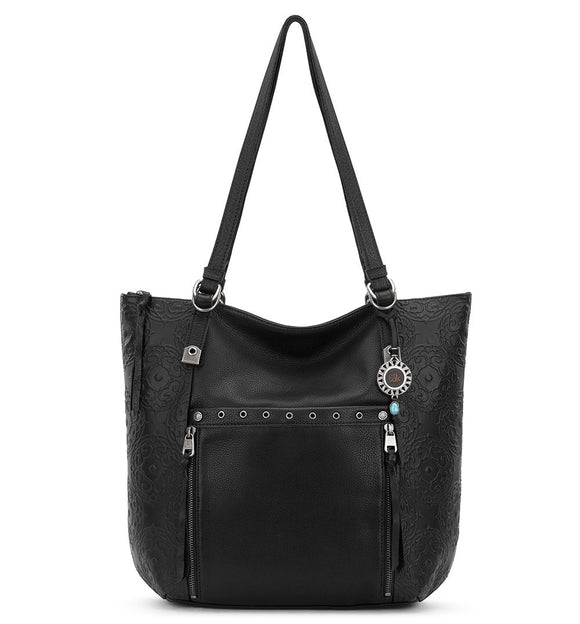 The Sak - Ojai - Emboss Leather Tote - Black Souk Emboss