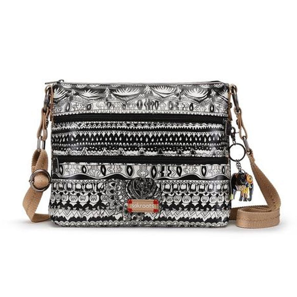 Sakroots - Artist Circle Zipper Crossbody - Black & White - One World