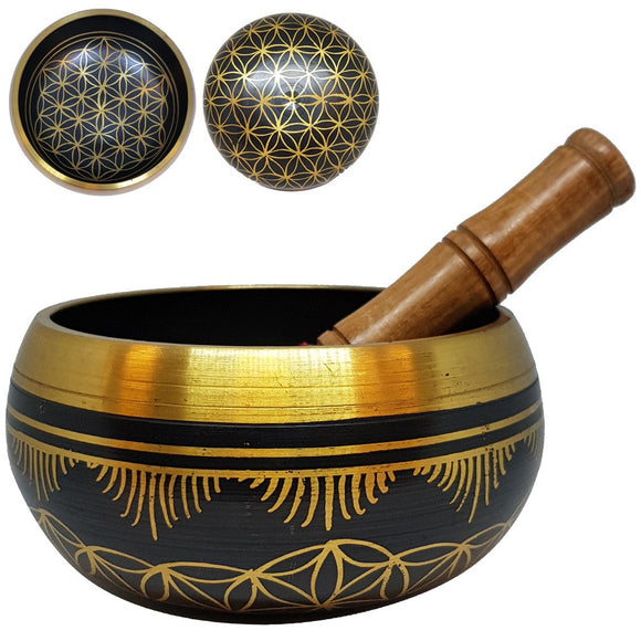 Singing Bowl - 15cm Brass Flower of Life