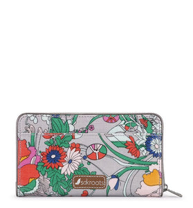 Sakroots - Artist Circle Large Zip Around Wallet - Lilac Flower