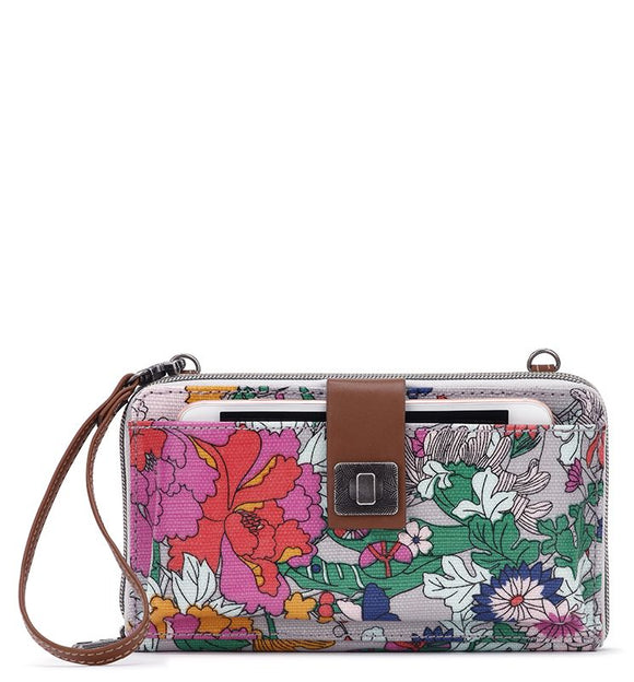 Sakroots - Artist Circle - Large Smartphone Crossbody Mini Bag-Purse - Lilac Flower