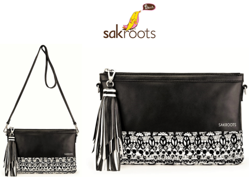 Sakroots -  Seni Leather -  Clutch Crossbody - Black - One World