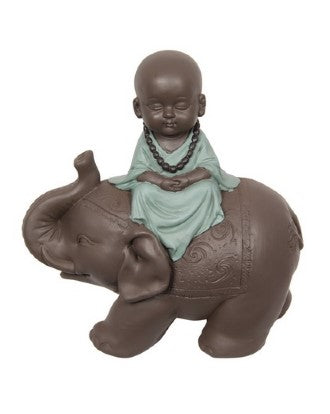 Monk Resting on Elephant 13cm