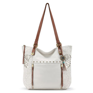 The Sak - Ojai Cut Leather Tote - Stone - Leaf Cut-Out