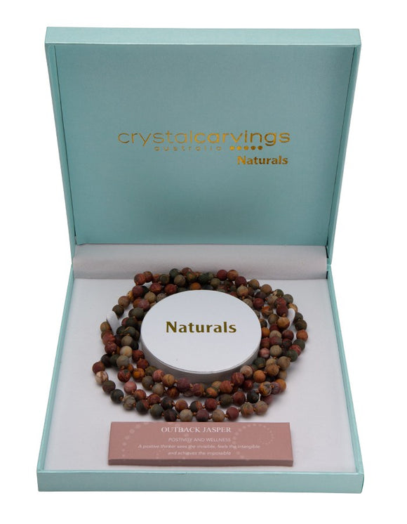 Natural Stone 8mm Bead Necklace - Outback Jasper