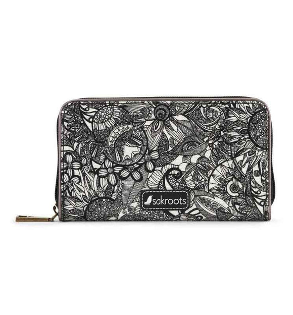Sakroots - Artist Circle Large Zip Around Wallet - Black & White - Spirit Desert
