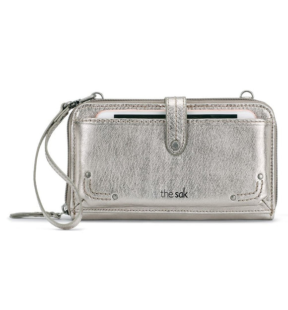The Sak - Iris - Leather - Large Smartphone - Crossbody Mini Bag+Purse - Pyrite Metallic