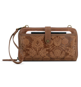The Sak - Iris - Leather - Large Smartphone - Crossbody Mini Bag+Purse - Tobacco Floral Emboss