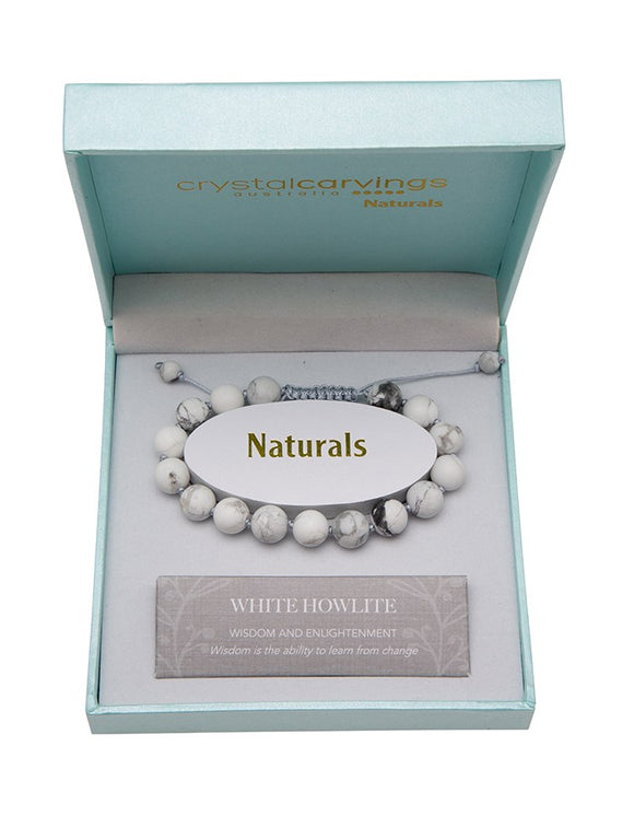 Natural Stone Bracelet - Adjustable - White Howlite