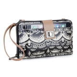 Sakroots - Artist Circle - Large Smartphone Crossbody Mini Bag-Purse - Black & White - One World