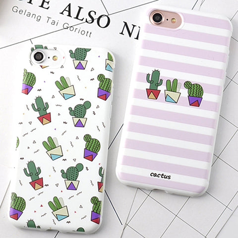 Stripe Cactus Phone Case for Apple Iphone 6 6s 6plus 6splus 7 7 Plus Soft