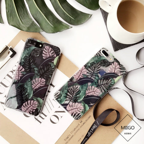 Summer Palm Leaves phone Cases For iphone 6 6s 6plus 6splus 7 7Plus Plants