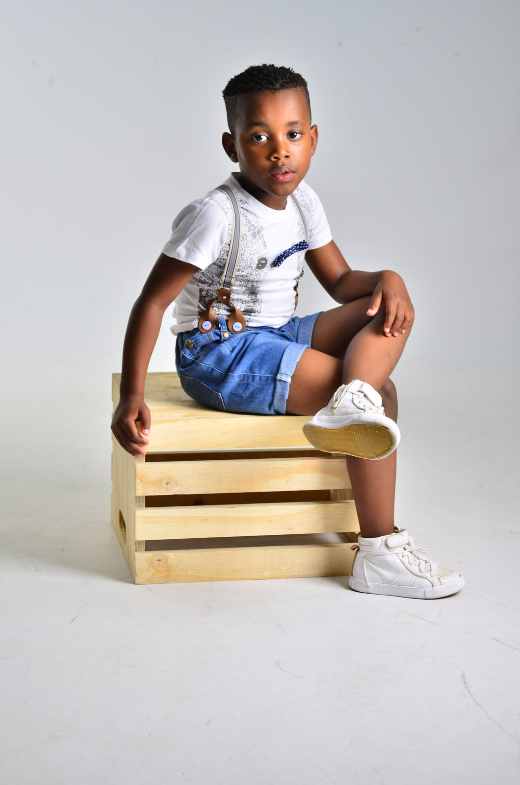 Boys Denim short and T shirt with suspenders