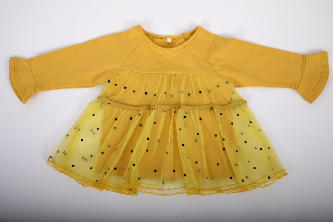 Yellow polka dot long sleeve dress