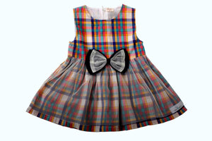 Check cute dress with a bow