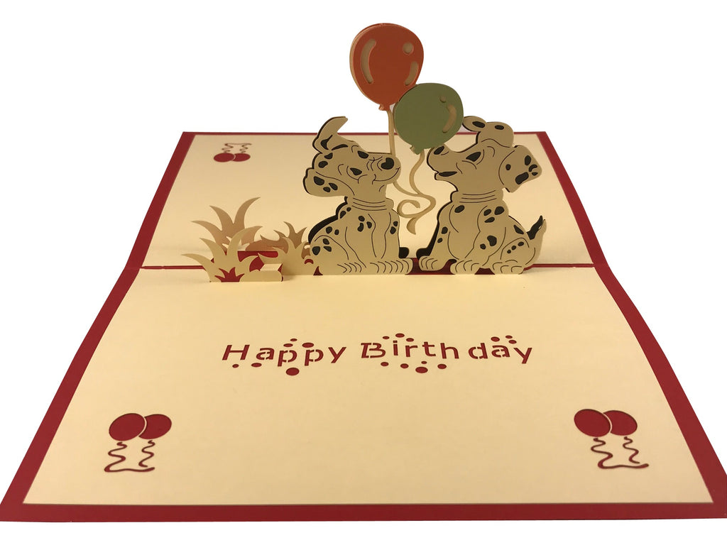 Opening Puppies and Balloons Happy Birthday Pop Up Card