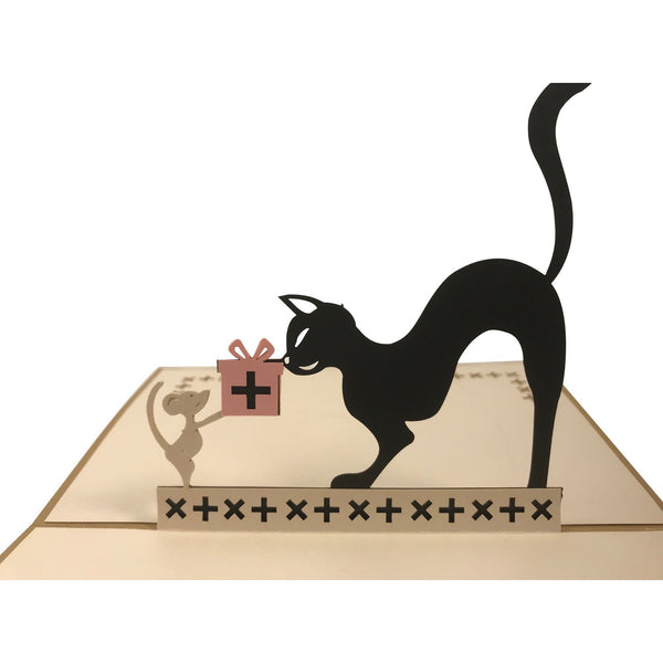 3D Pop Up Birthday Greeting Card Cat & Mouse