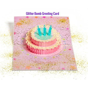 Glitter Bomb 3D Pop Up Birthday Greeting Card Cake Candles