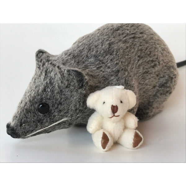 Miniature plush teddy bear white with toy mouse