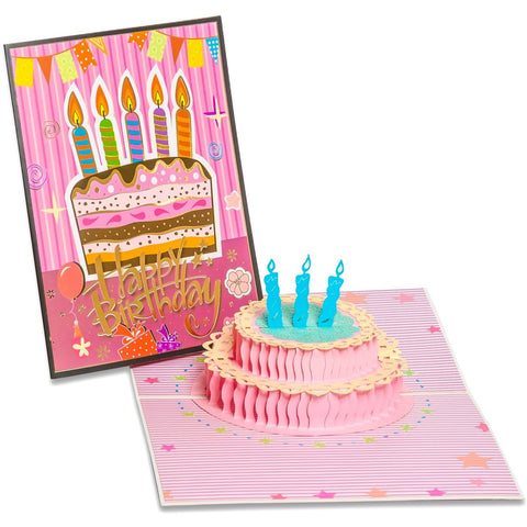 3D Pop Up Birthday Greeting Card Cake Candles