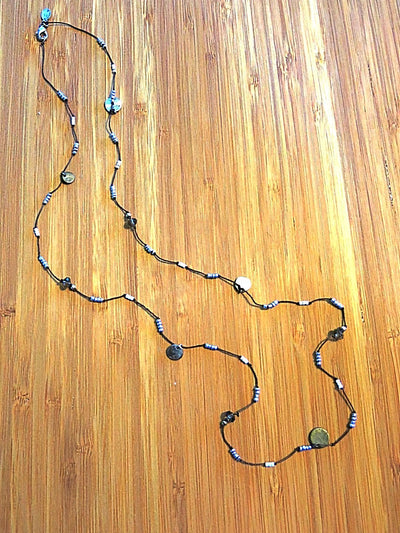 Long Bead and Tag Necklace