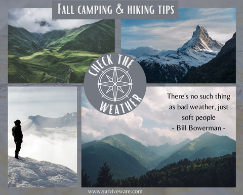 10 tips for hiking and camping in fall - check the weather