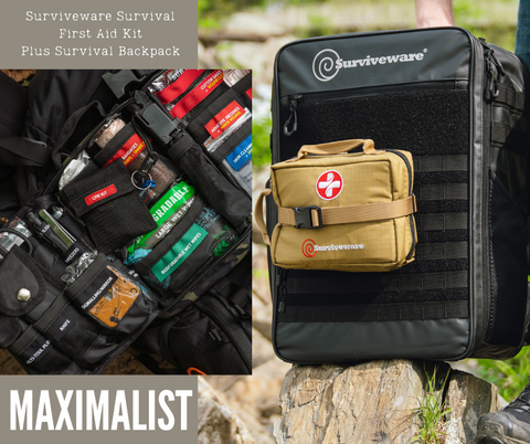 Surviveware Survival first aid kit and survival backpack go bag