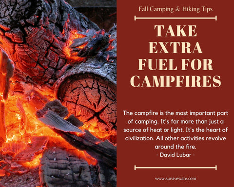 10 tips for hiking and camping in fall - take extra fuel for campfires
