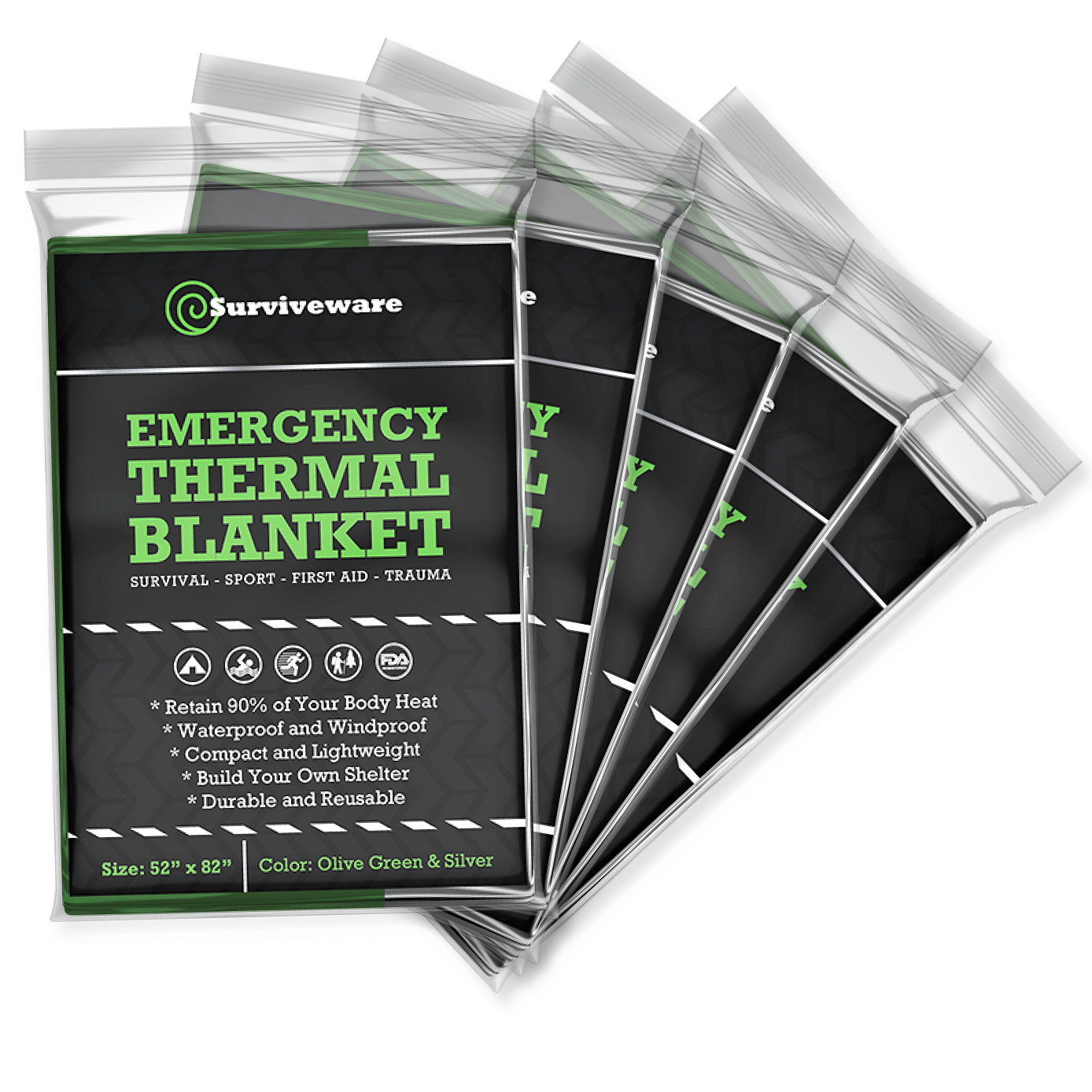 Emergency Mylar Blankets (5-Pack)