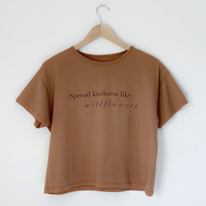 Spread Kindness like wildflowers - Women's Boxy Tee (Brown)